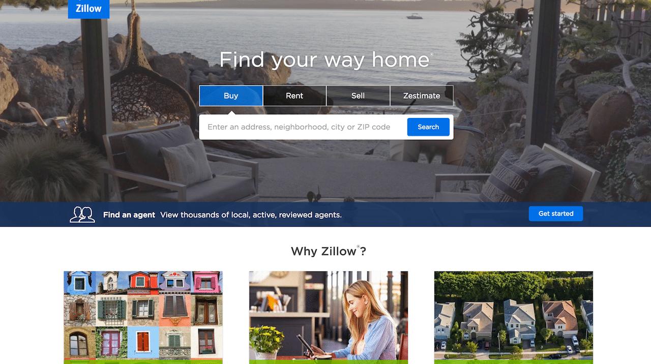 Пример сайта агенства недвижимости Zillow